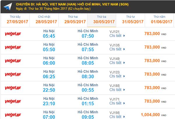 Giá vé máy bay Vietnam Airlines đi TPHCM cập nhật tháng 08