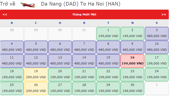 Giá vé máy bay từ Đà Nẵng đi Hà Nội hãng VietJet Air