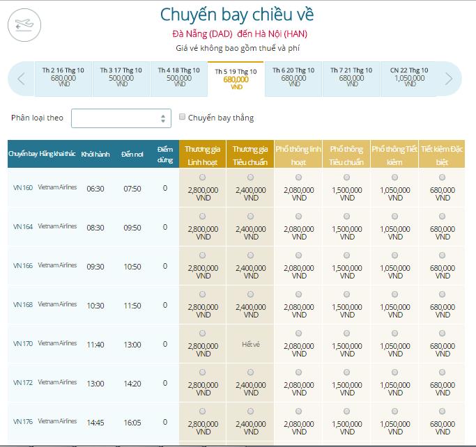 Giá vé máy bay Đà Nẵng đi Hà Nội Vietnam Airlines