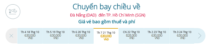 Giá vé máy bay Đà Nẵng đi Sài Gòn hãng Vietnam Airlines