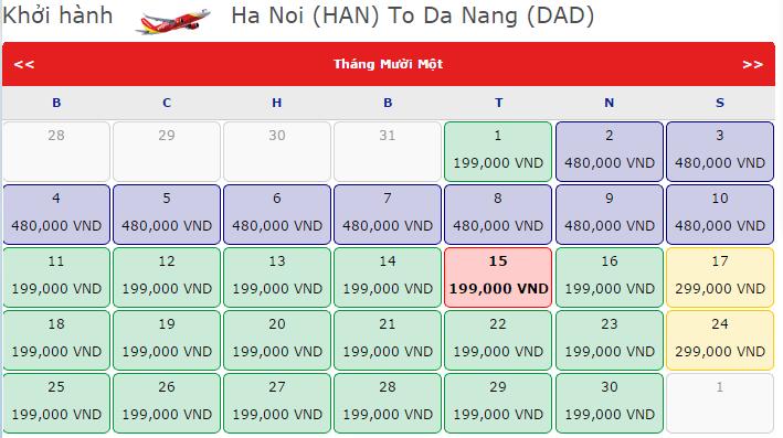 Giá vé máy bay từ Hà Nội đi Đà Nẵng hãng VietJet Air