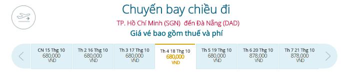 Giá vé máy bay đi Đà Nẵng hãng Vietnam Airlines
