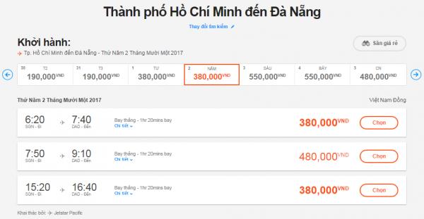Bảng giá vé máy bay TPHCM đi Đà Nẵng hãng Jetstar