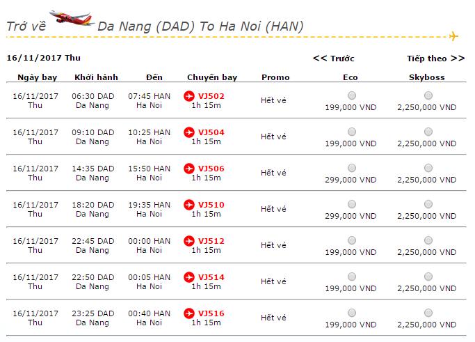 Giá vé máy bay Vietjet Air từ Đà Nẵng đi Hà Nội
