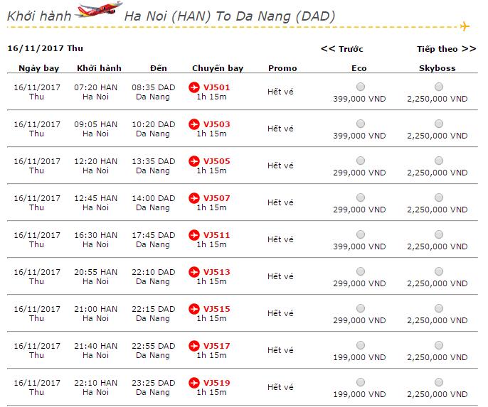 Giá vé máy bay Vietjet Air từ Hà Nội đi Đà Nẵng