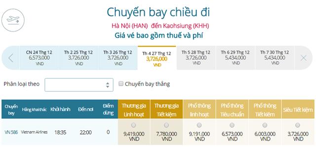 Bảng giá vé máy bay Vietnam Airlines Hà Nội đi Cao Hùng mới nhất