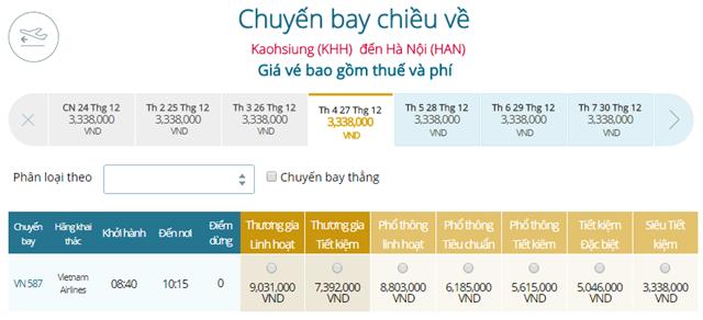 Bảng giá vé máy bay Vietnam Airlines Cao Hùng đi Hà Nội mới nhất