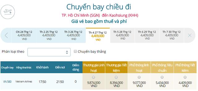 Bảng giá vé máy bay Vietnam Airlines TP Hồ Chí Minh đi Cao Hùng mới nhất