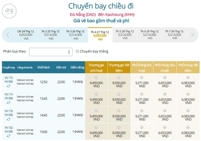 Bảng giá vé máy bay Vietnam Airlines Đà Nẵng đi Cao Hùng mới nhất