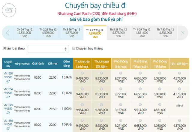 Bảng giá vé máy bay Vietnam Airlines Nha Trang đi Cao Hùng mới nhất