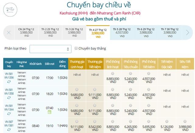 Bảng giá vé máy bay Vietnam Airlines Cao Hùng đi Nha Trang mới nhất