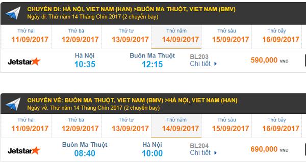 Giá vé máy bay hÀ nỘI đi Buôn Ma Thuột hãng Jetstar