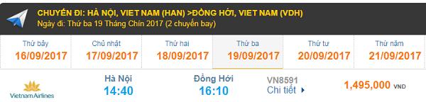 Giá vé máy bay Hà Nội đi Đồng Hới Vietnam Airlines