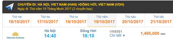 Bảng giá vé máy bay Hà Nội đi Đồng Hới Vietnam Airlines