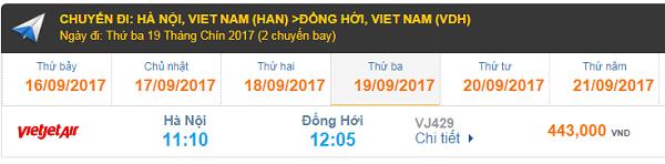 Giá vé máy bay Hà Nội đi Đồng Hới Vietjet Air