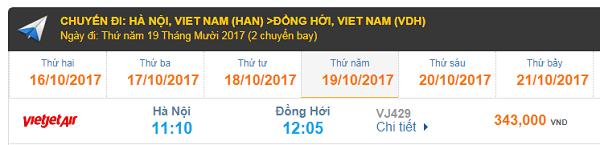 Bảng giá vé máy bay Hà Nội đi Đồng Hới Vietjet Air