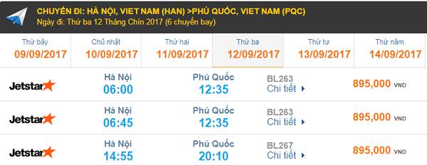 Bảng giá vé máy bay Hà Nội đi Phú Quốc hãng Jetstar Pacific