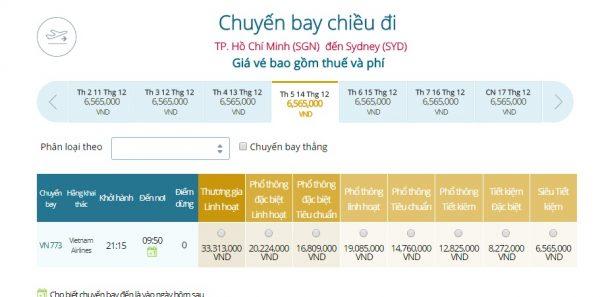 Giá vé máy bay Hồ Chí Minh- Sydney