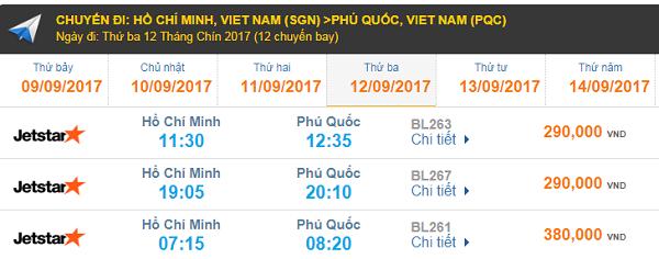 Bảng giá vé máy bay HCM đi Phú Quốc hãng Jetstar Pacific