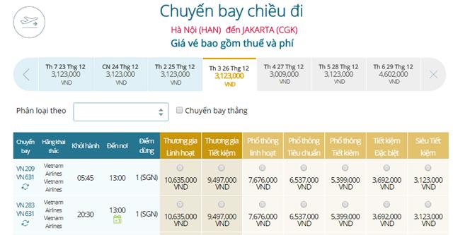 Bảng giá vé máy bay Vietnam Airlines Hà Nội đi Jakarta mới nhất