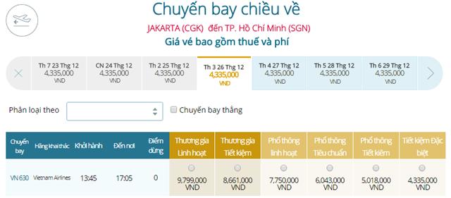 Bảng giá vé máy bay Vietnam Airlines Jakarta đi TP Hồ Chí Minh mới nhất