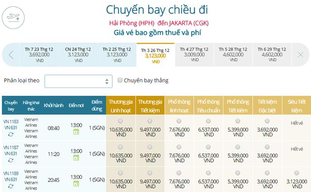 Bảng giá vé máy bay Vietnam Airlines Hải Phòng đi Jakarta mới nhất