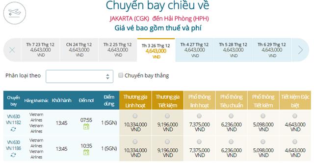 Bảng giá vé máy bay Vietnam Airlines Jakarta đi Hải Phòng mới nhất
