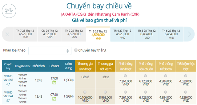 Bảng giá vé máy bay Vietnam Airlines Jakarta đi Nha Trang mới nhất