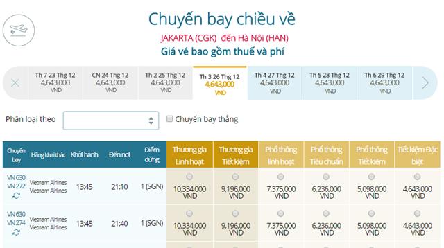 Bảng giá vé máy bay Vietnam Airlines Jakarta đi Hà Nội mới nhất