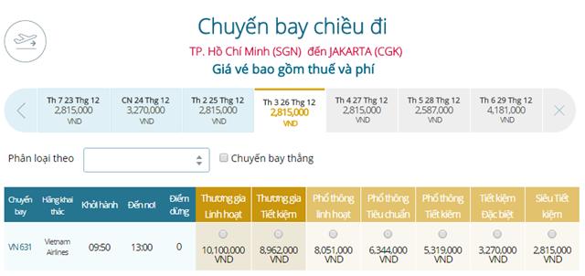 Bảng giá vé máy bay Vietnam Airlines TP Hồ Chí Minh đi Jakarta mới nhất