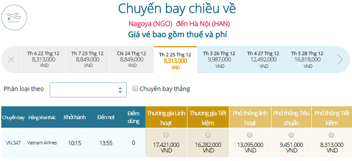 Bảng giá vé máy bay Vietnam Airlines Nagoya đi Hà Nội mới nhất