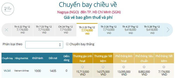 Bảng giá vé máy bay Vietnam Airlines Nagoya đi TPHCM mới nhất