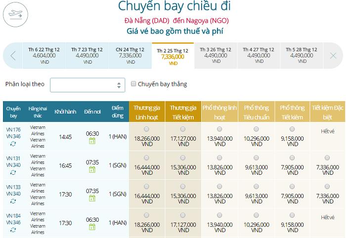Bảng giá vé máy bay Vietnam Airlines Đà Nẵng đi Nagoya mới nhất