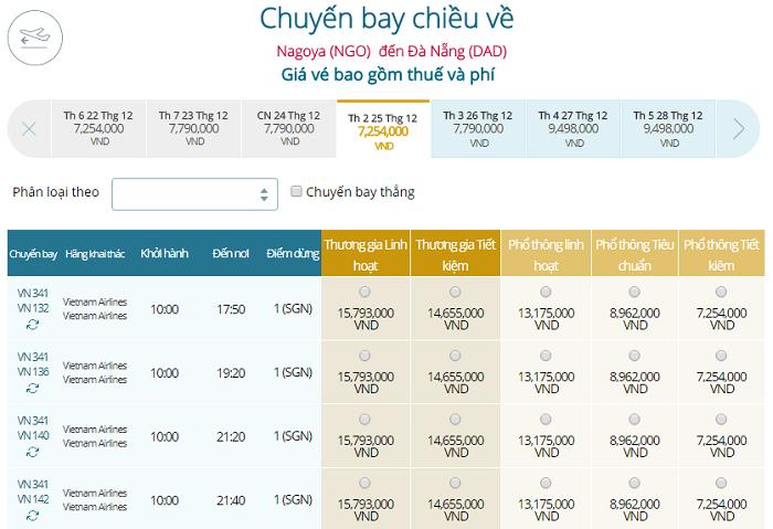 Bảng giá vé máy bay Vietnam Airlines Nagoya đi Đà Nẵng mới nhất