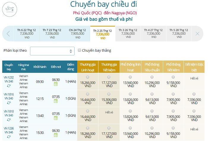 Bảng giá vé máy bay Vietnam Airlines Phú Quốc đi Nagoya mới nhất