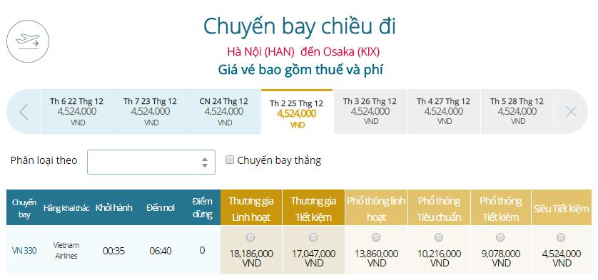 Bảng giá vé máy bay Vietnam Airlines từ Hà Nội đi Osaka