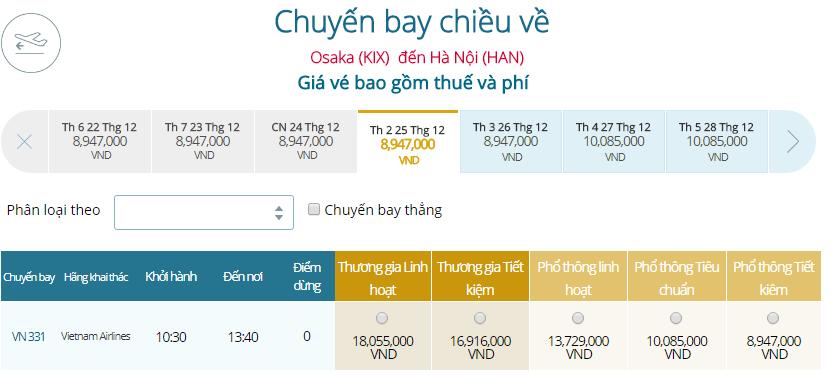 Bảng giá vé máy bay Vietnam Airlines Osaka đi Hà Nội
