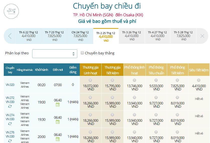 Bảng giá vé máy bay Vietnam Airlines TP Hồ Chí Minh đi Osaka mới nhất