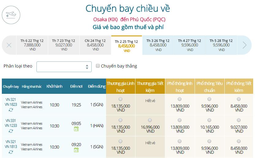 Bảng giá vé máy bay Vietnam Airlines Osaka đi Phú Quốc mới nhất