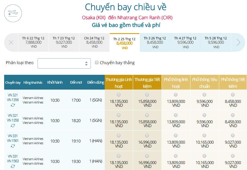 Bảng giá vé máy bay Vietnam Airlines Osaka đi Nha Trang mới nhất