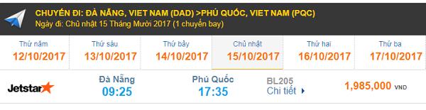 Bảng giá vé máy bay Đà Nẵng đi Phú Quốc hãng Jetstar Pacific