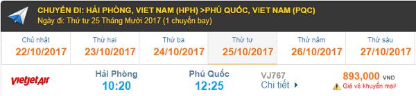 Bảng giá vé máy bay Hải Phòng đi Phú Quốc hãng Vietjet Air