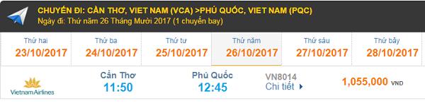 Bảng giá vé máy bay Cần Thơ đi Phú Quốc hãng Vietnam Airlines