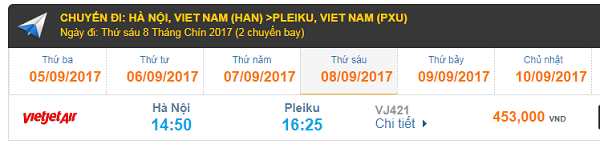 Tham khảo bảng giá vé TP.HCM - PLEIKU Vietjet Air