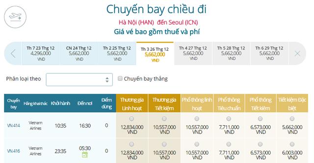 Bảng giá vé máy bay Vietnam Airlines Hà Nội đi Seoul mới nhất