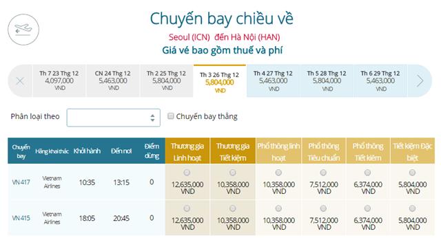 Bảng giá vé máy bay Vietnam Airlines Seoul đi Hà Nội mới nhất