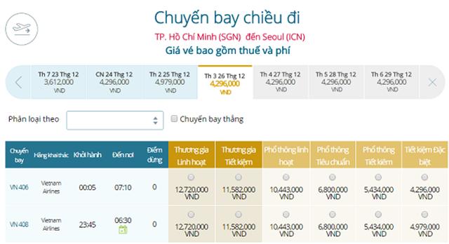 Bảng giá vé máy bay Vietnam Airlines TP Hồ Chí Minh đi Seoul mới nhất