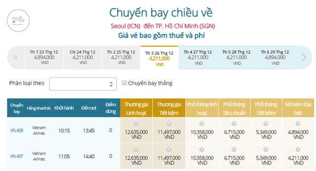 Bảng giá vé máy bay Vietnam Airlines Seoul đi TP Hồ Chí Minh mới nhất