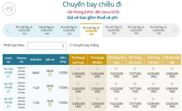 Bảng giá vé máy bay Vietnam Airlines Hải Phòng đi Seoul mới nhất