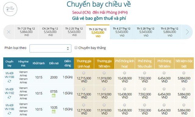 Bảng giá vé máy bay Vietnam Airlines Seoul đi Hải Phòng mới nhất